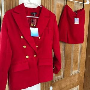 Missguided Red Blazer/Skirt Set (new with tags)